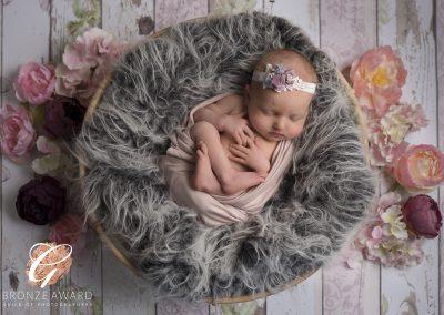 little girl on a basket