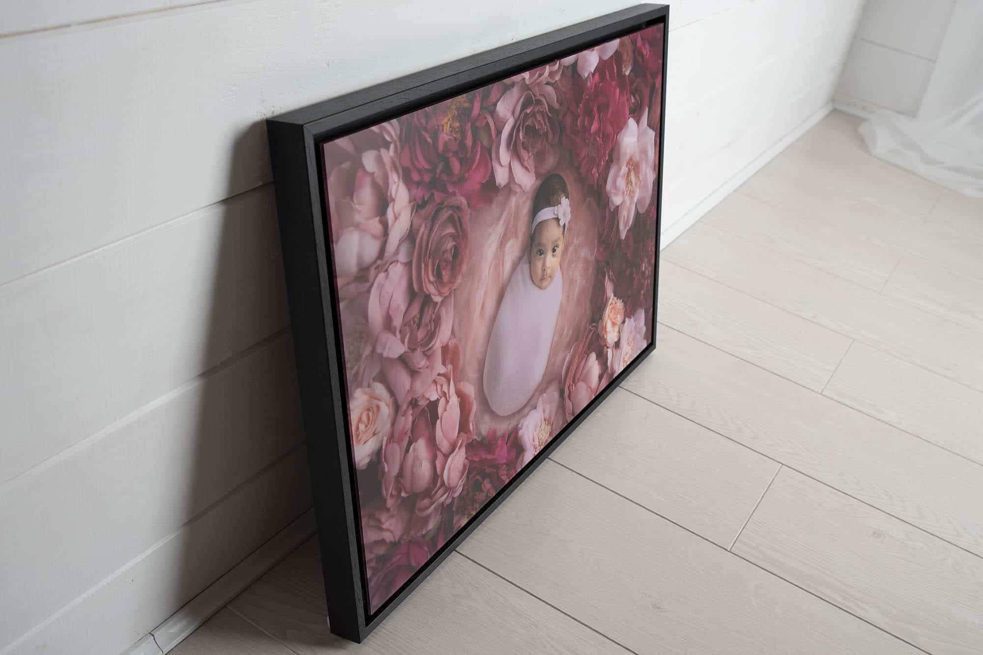 tray framed acrylic wall art on the floor