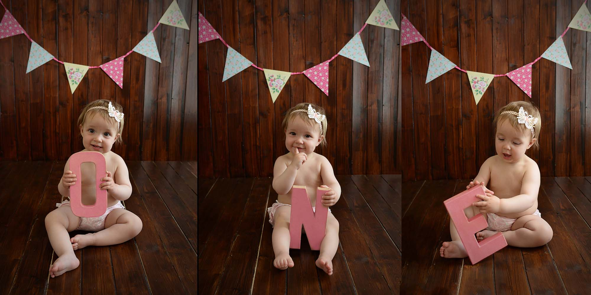 one year old triple portraits photographed by cake smash photography Manchester